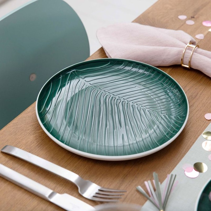 art de la table assiette motif tropical feuille