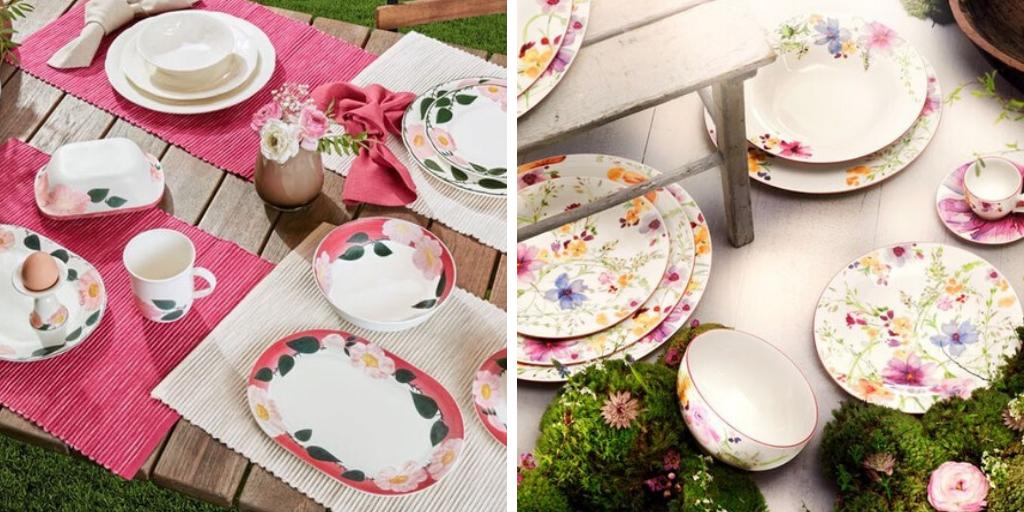 art de la table printemps vaisselle fleurs roses