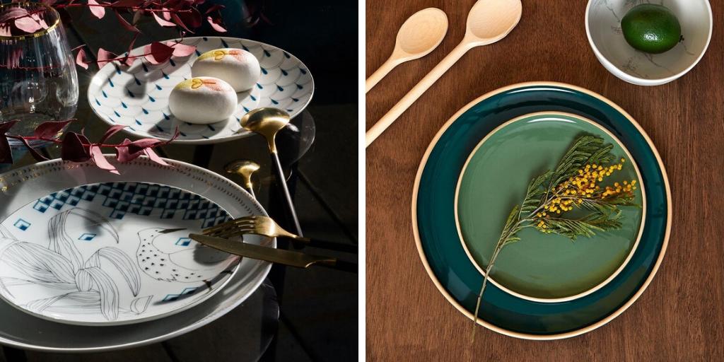 art de la table vaisselle bleu vert