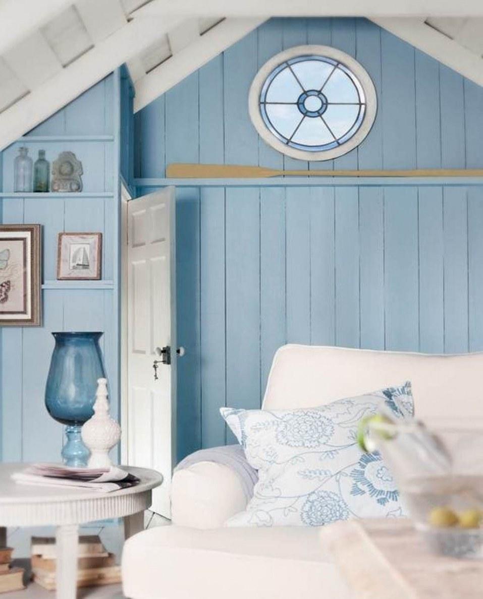chambre deco bord de mer lambris peinture bleue