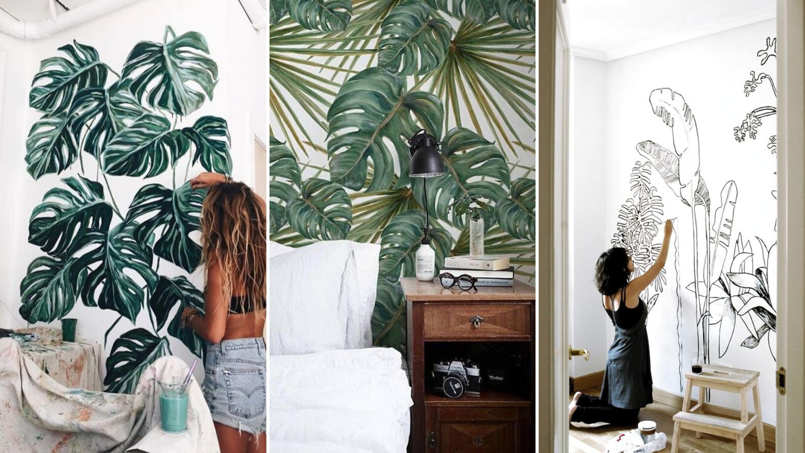 creer jardin interieur peinture fresque murale plantes