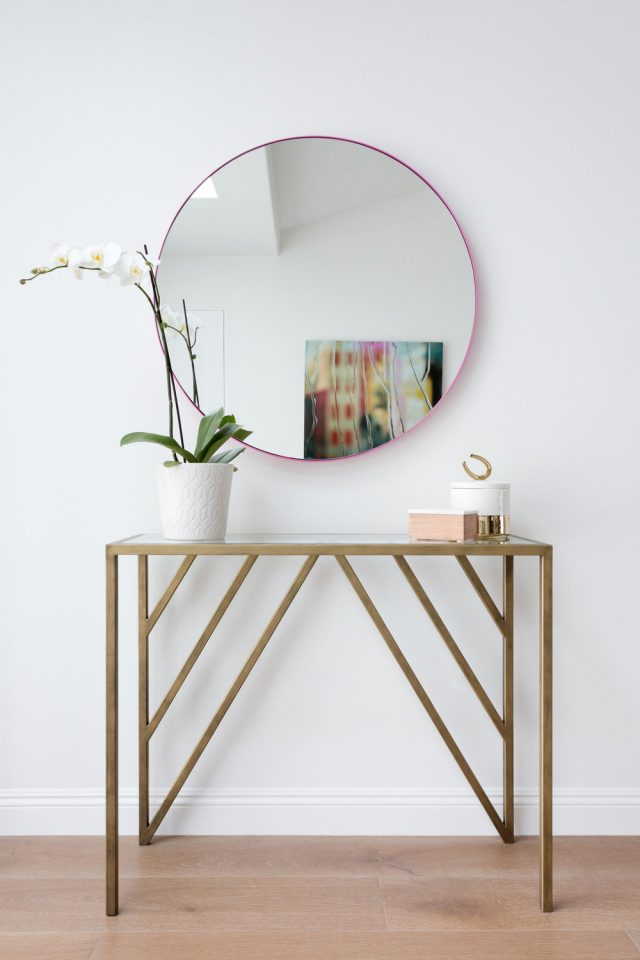 deco entree elegante feminine console art deco métal laiton miroir rond