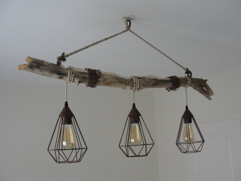 luminaire bord de mer suspension bois flotte