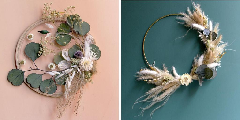 ou trouver couronne de fleurs sechees decoration