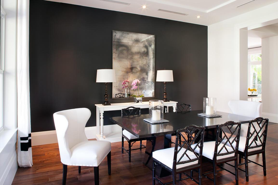 salle a manger couleur foncee noir et blanc classique