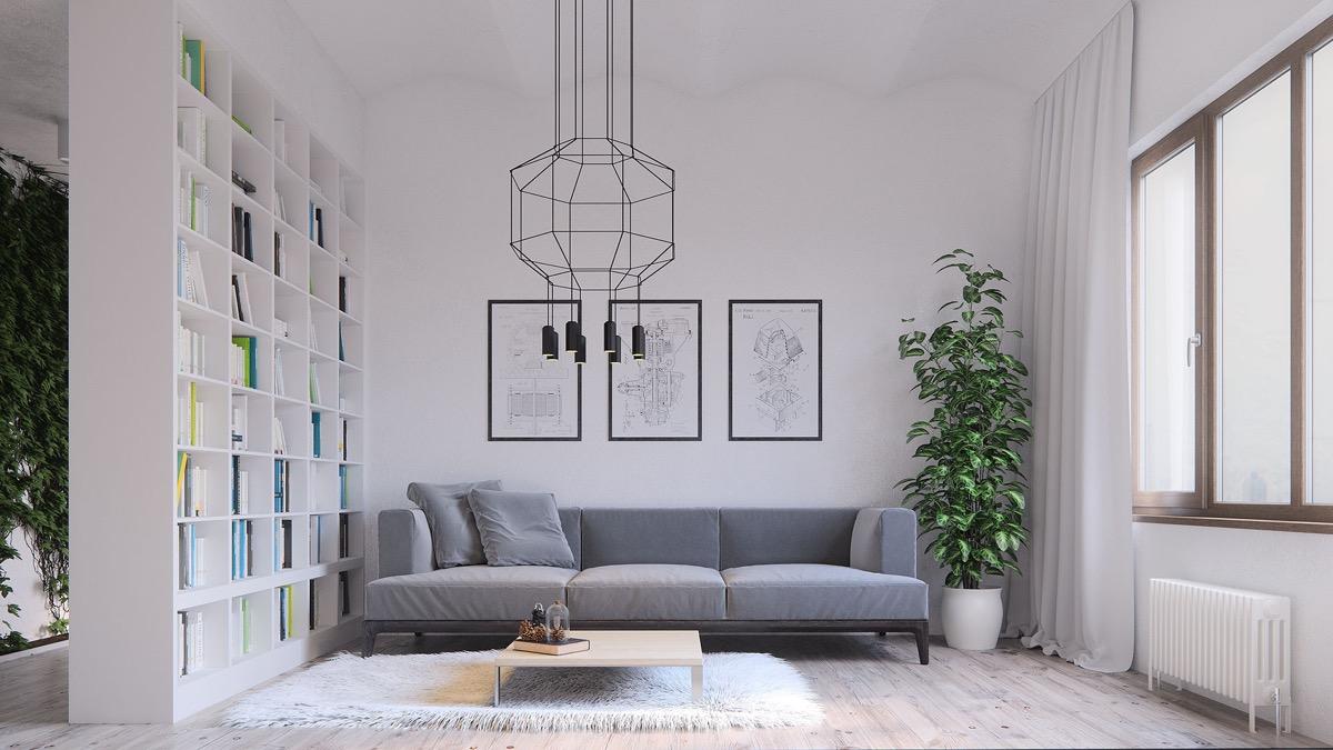 salon minimaliste rangement bibliotheque