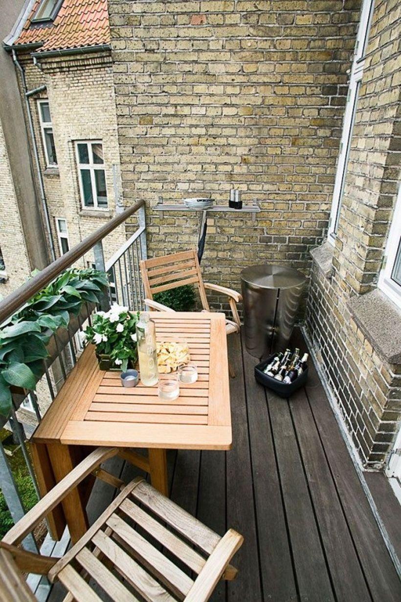 balcon deco table bois pliante