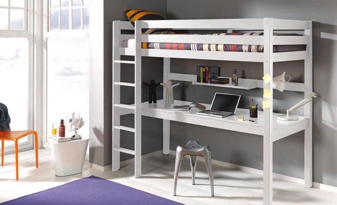 chambre ado gain de place lit mezzanine simple bureau
