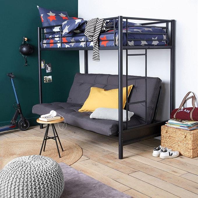 chambre ado gain de place lit mezzanine et canape noir