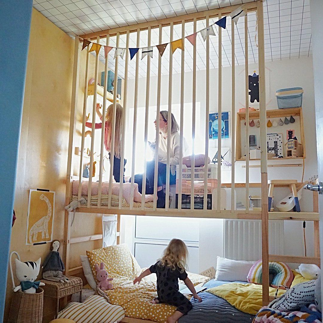 claustra chambre enfant mezzanine bois