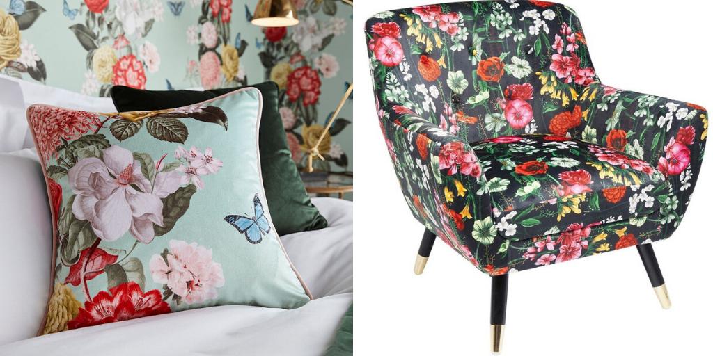 deco fleur salon textile imprime