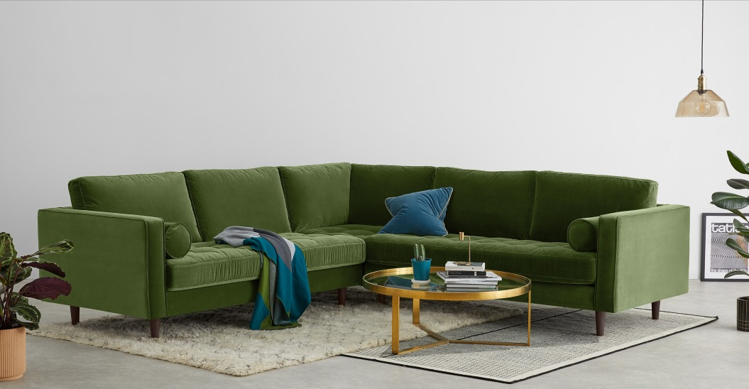 ou trouver canape angle velours vert olive