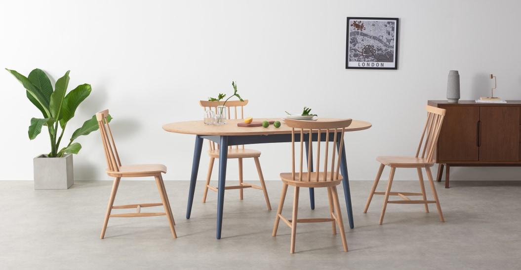 petite salle a manger table ovale pietement couleur