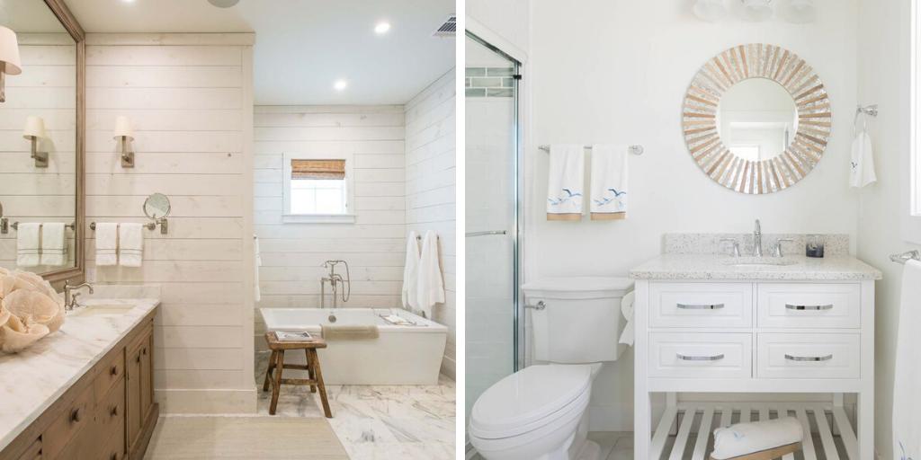 salle de bain bord de mer blanc et bois