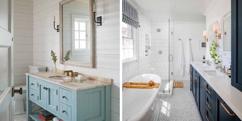 salle de bain bord de mer meuble vasque bleu