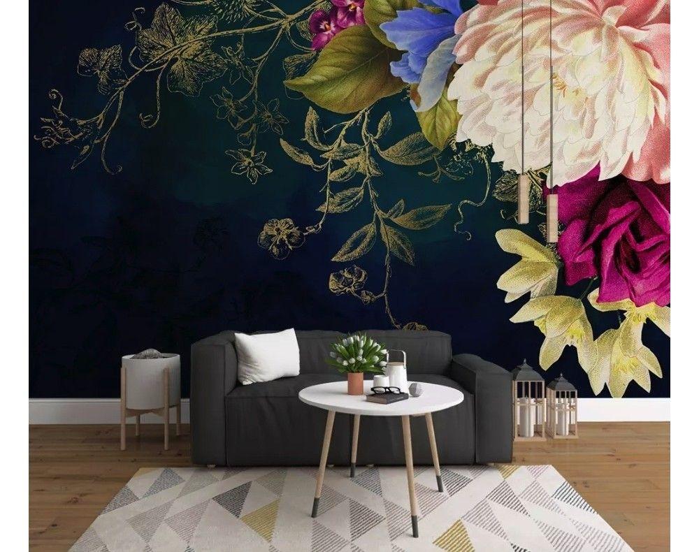 salon deco fleur papier peint