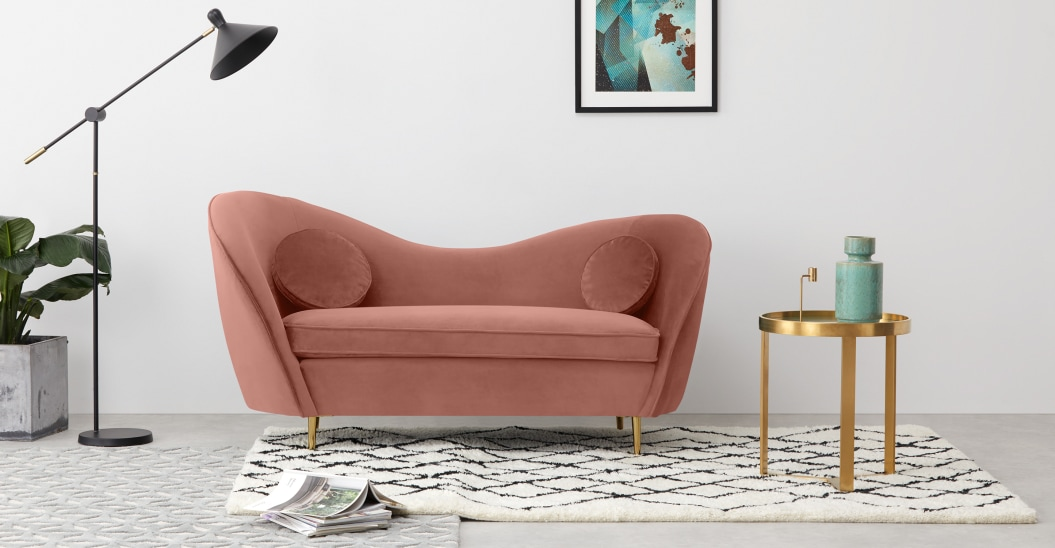 velours deco canape rose retro