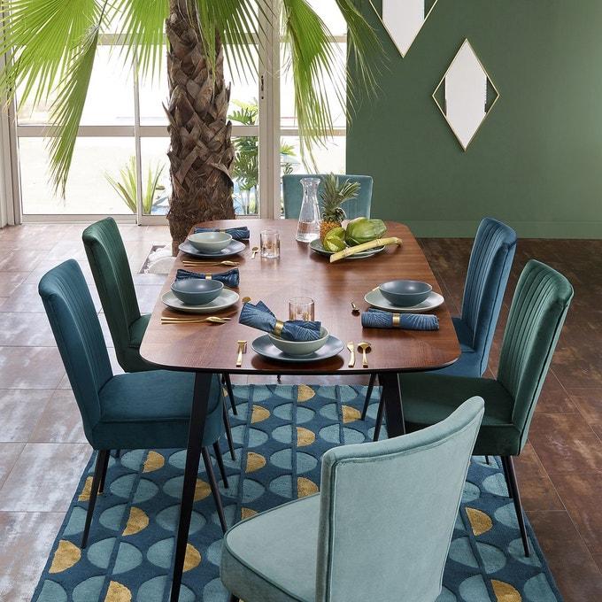 velours deco chaise salle a manger bleu retro