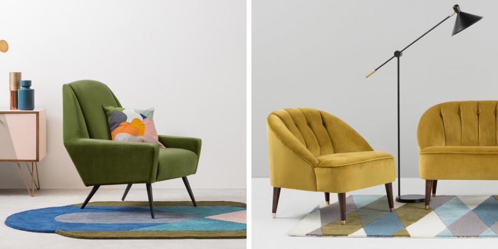 velours deco fauteuil couleur retro vintage