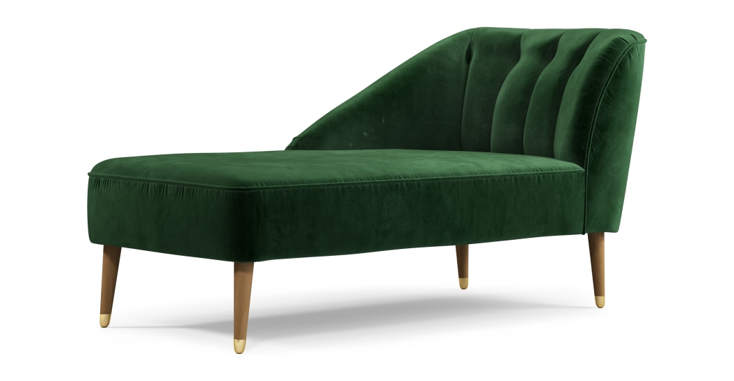 velours deco meridienne verte retro
