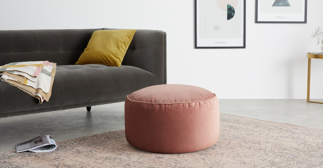 velours deco pouf rose pastel