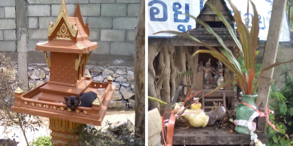 vivre dehors maisons des esprits laos thailande