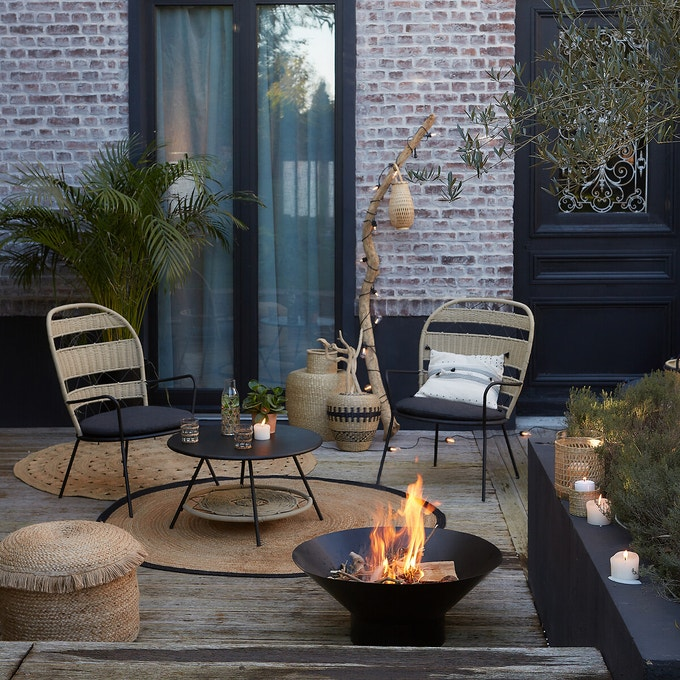ambiance jardin zen brasero noir