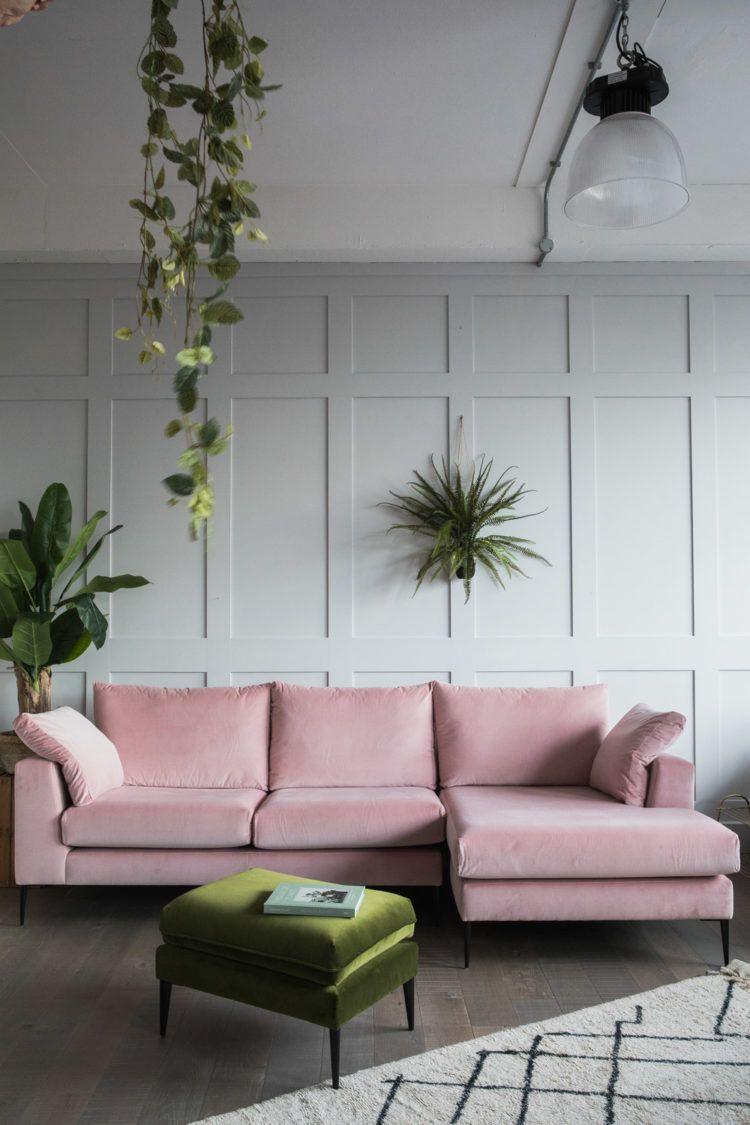 canape velours rose peinture grise