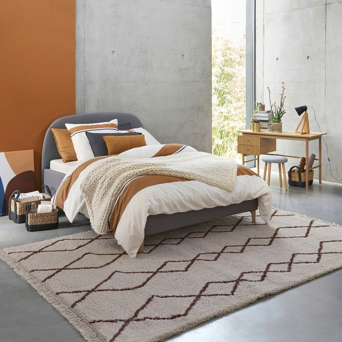 couleur terracotta chambre tapis berbere