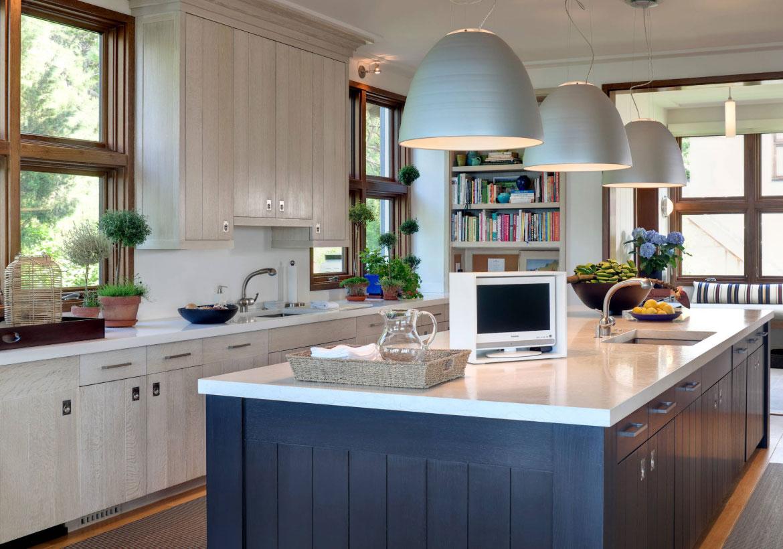 cuisine deco blanc bleu bois bord de mer