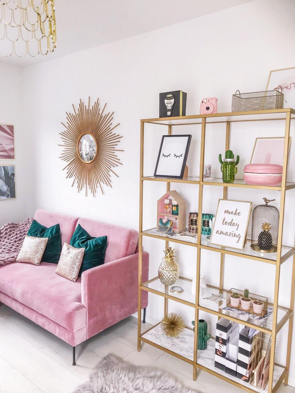 deco elegante feminine canape rose etagere or