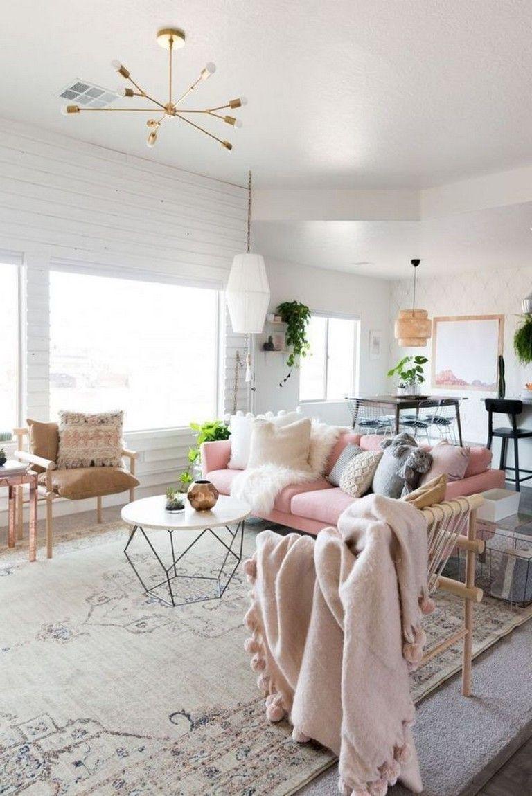 deco salon modern glam banc et rose