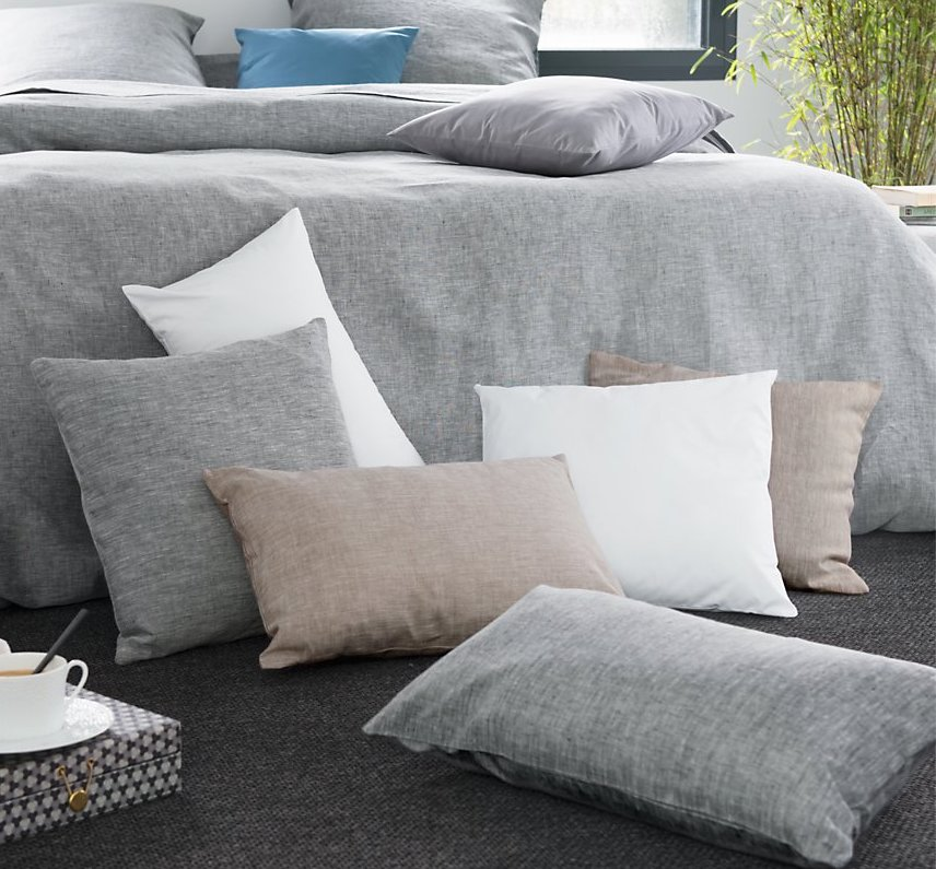 lin made in france coussin chine gris