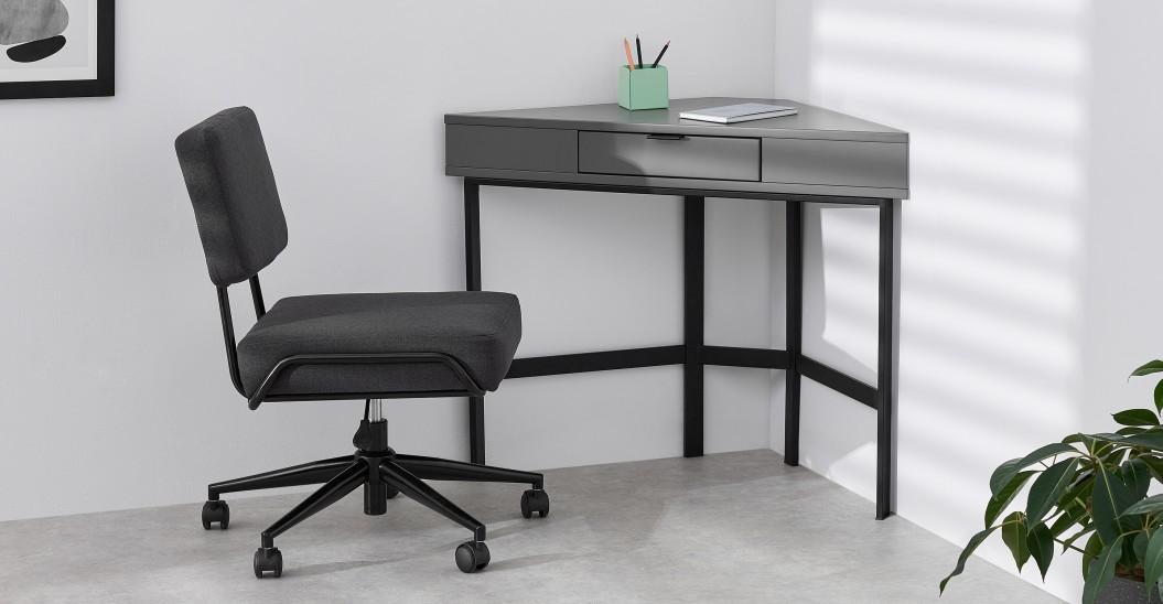 meuble angle bureau gris et noir