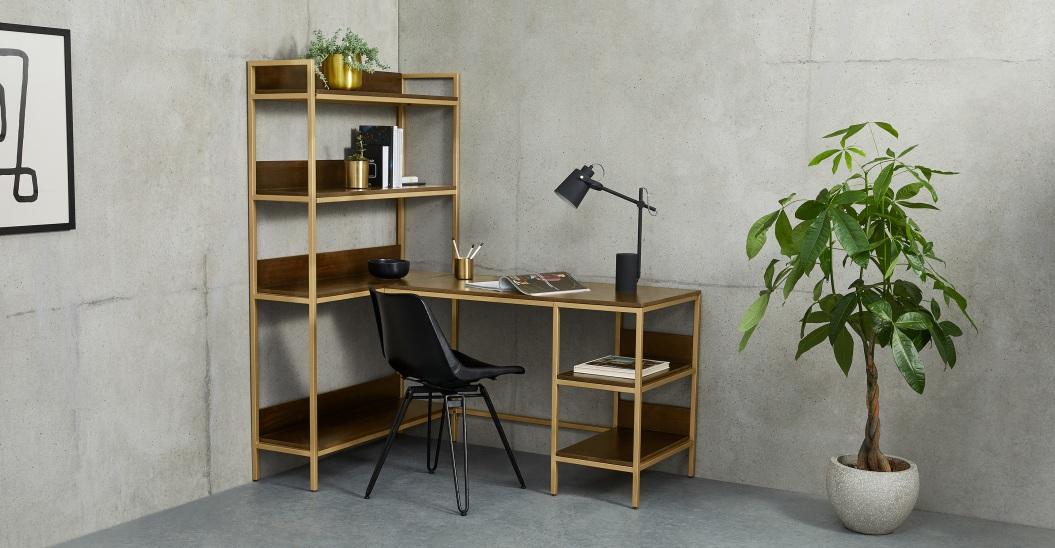 meuble angle bureau manguier et laiton