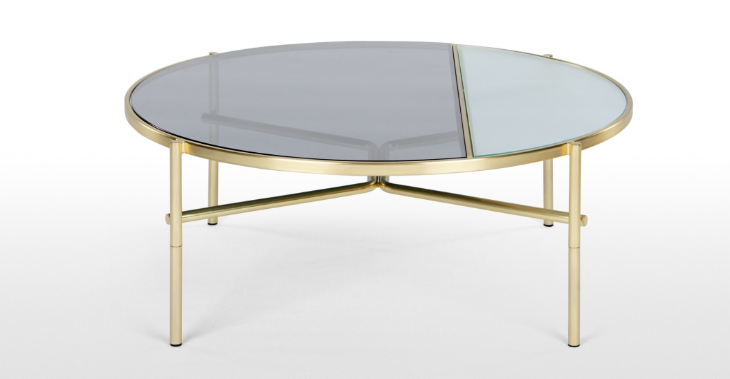 ou trouver table basse pied or verre fume