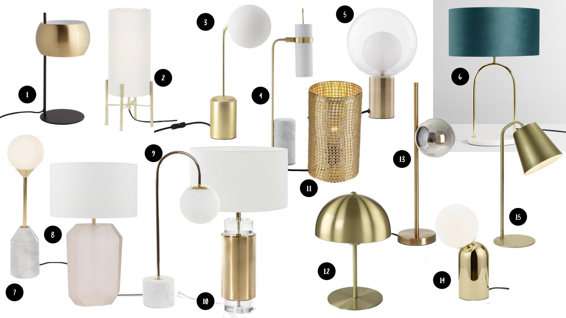 style modern glam lampe laiton