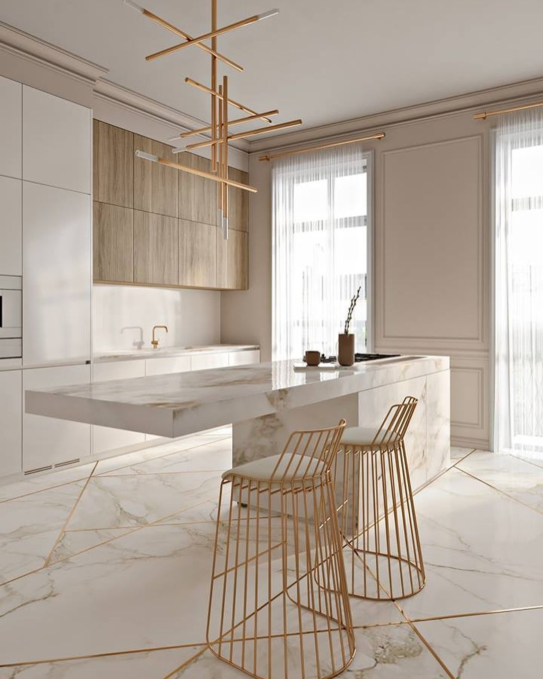 style modern glam marbre cuisine