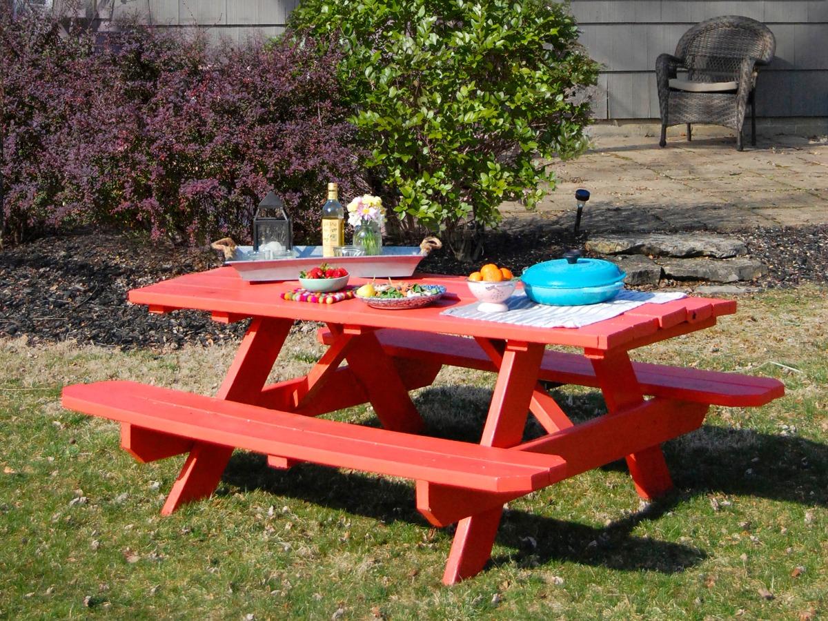table de picnic peinture