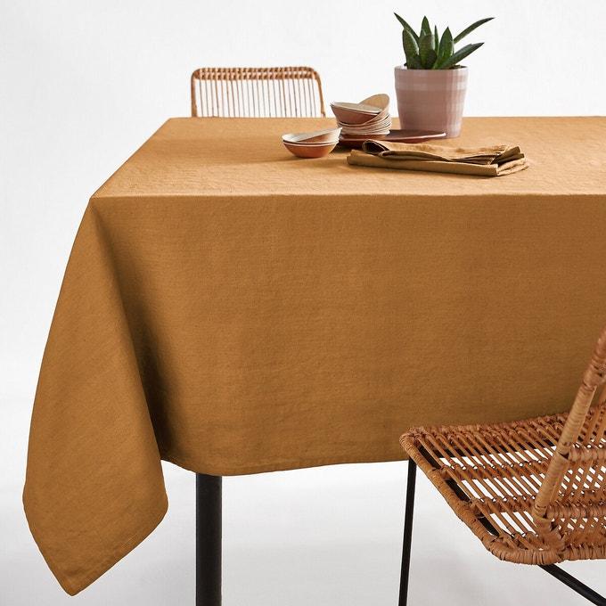 table ete nappe en lin couleur ocre