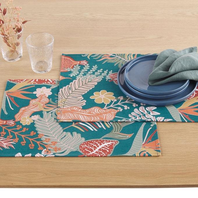 table ete set de table motif fleur
