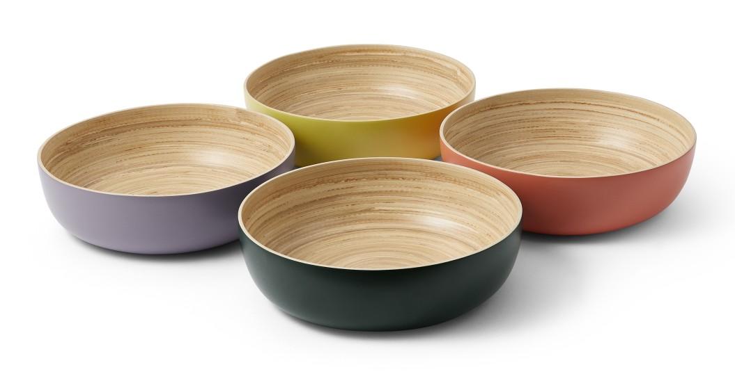 table ete vaisselle bols bambou couleur