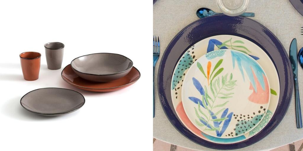 table ete vaisselle couleur