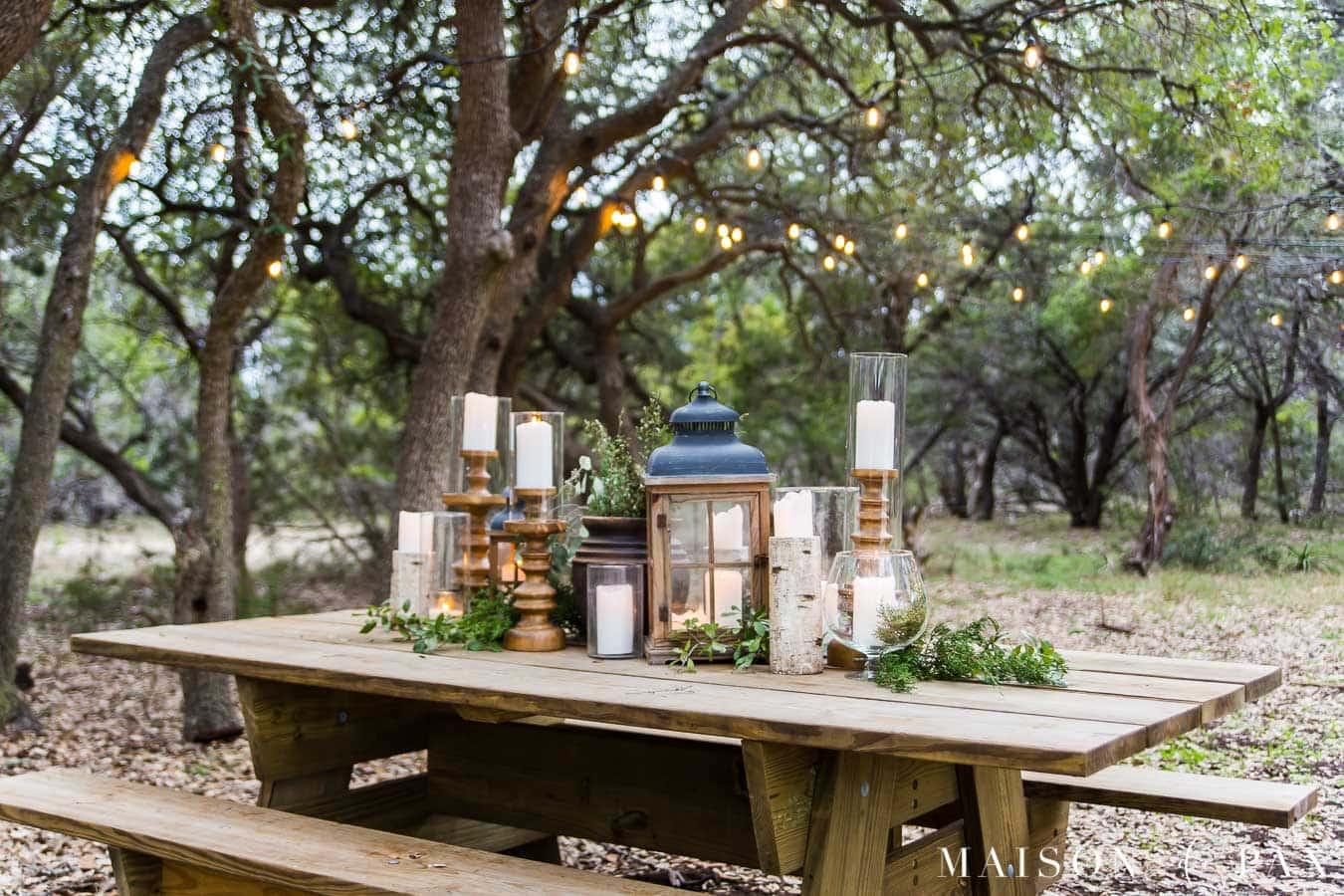 table pique nique ambiance naturelle jardin