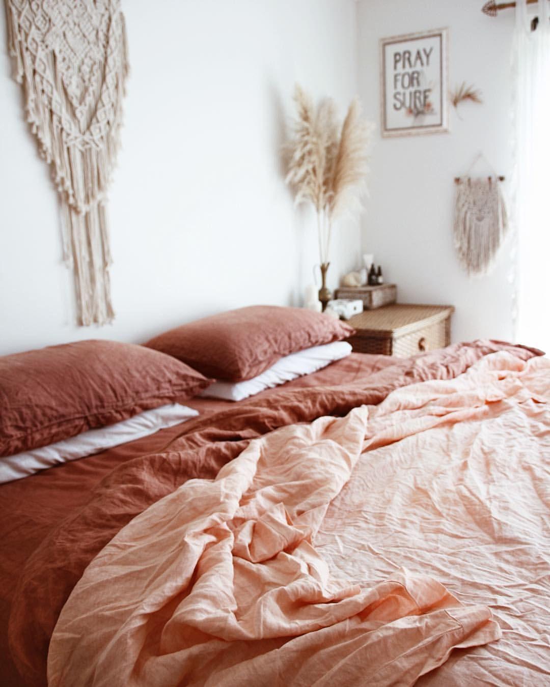 terracotta couleur chambre linge de lit ambiance boheme