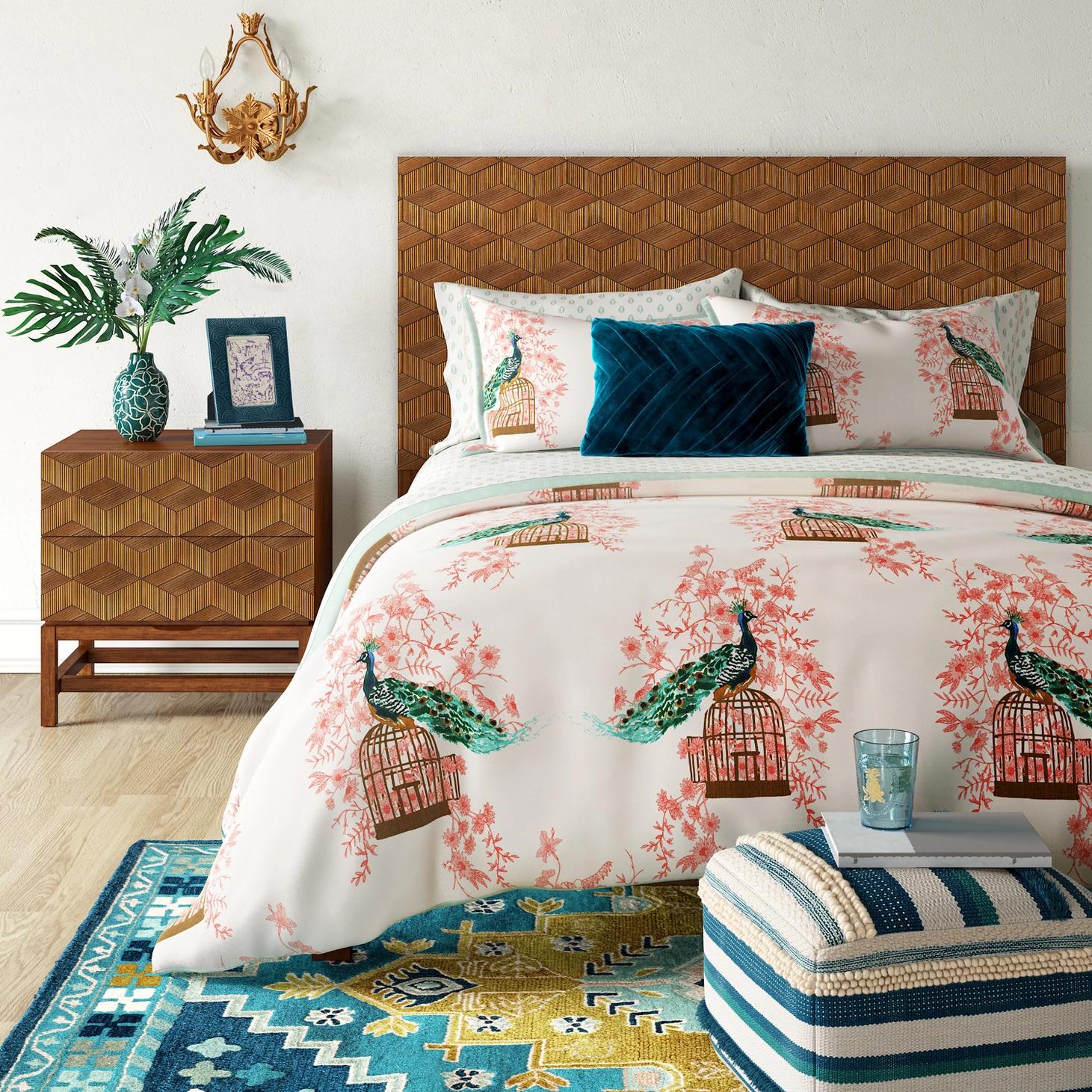 tete de lit rotin ambiance legere chambre