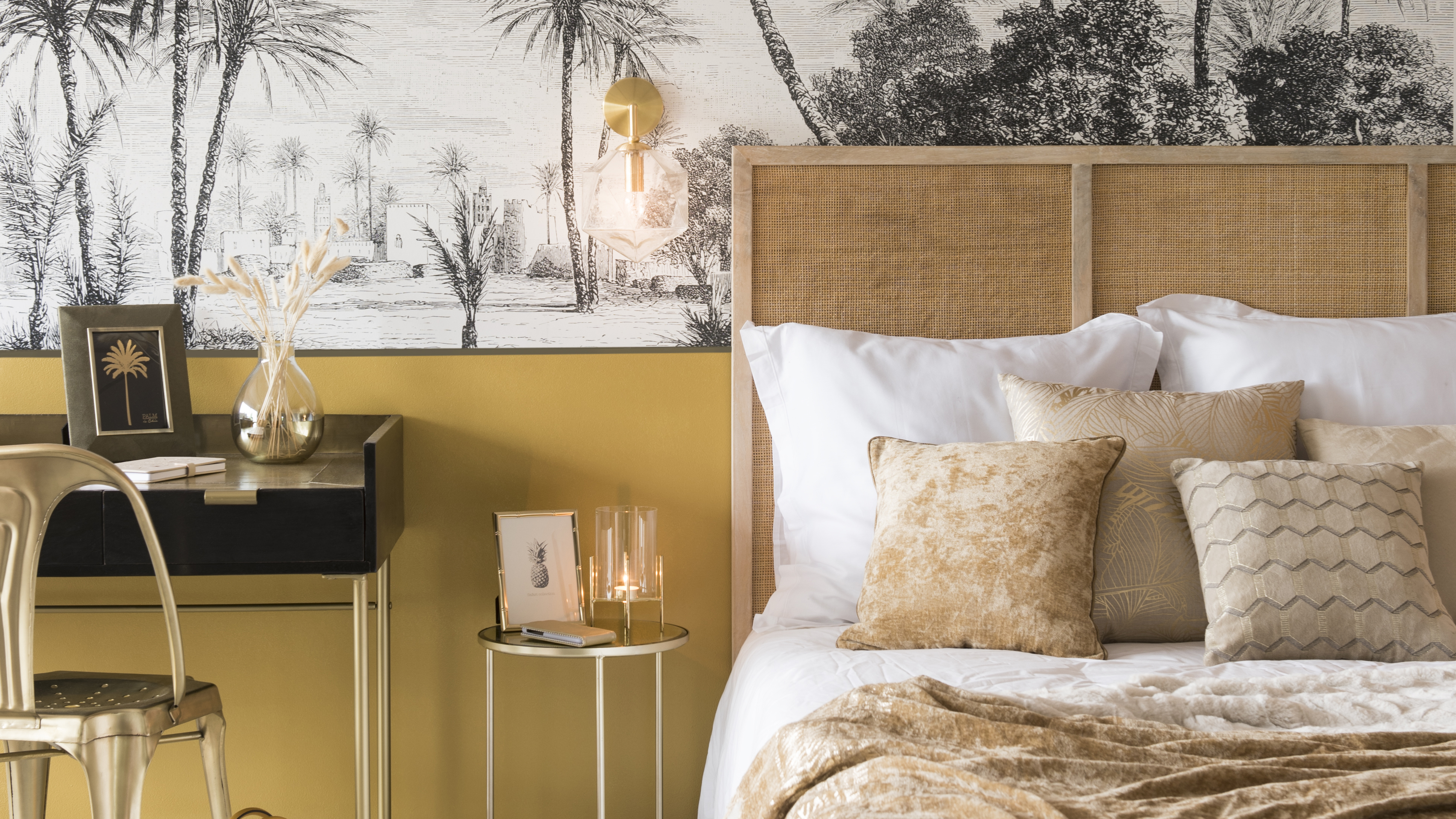 tete de lit rotin chambre ambiance moderne elegance