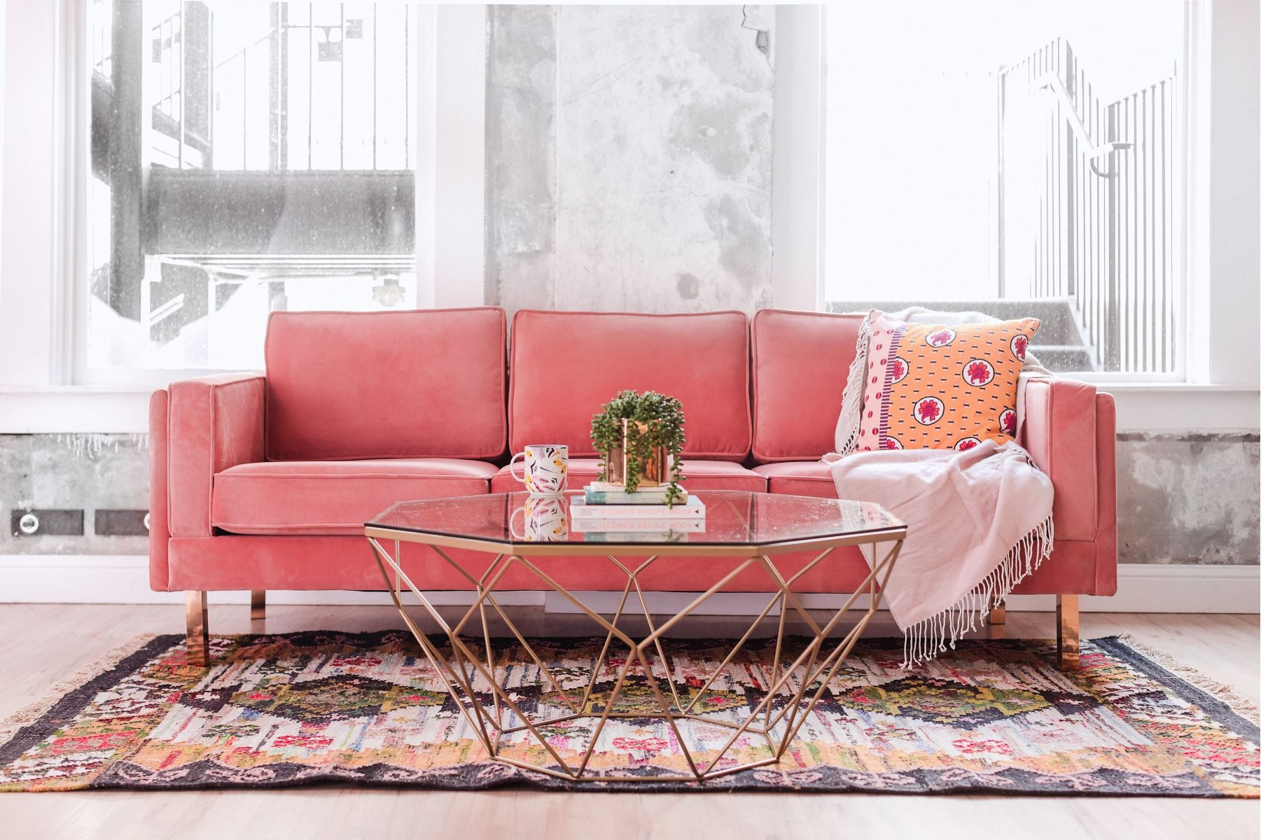 velours rose canape moderne