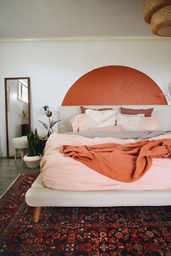 couleur deco terracotta idee chambre tete de lit