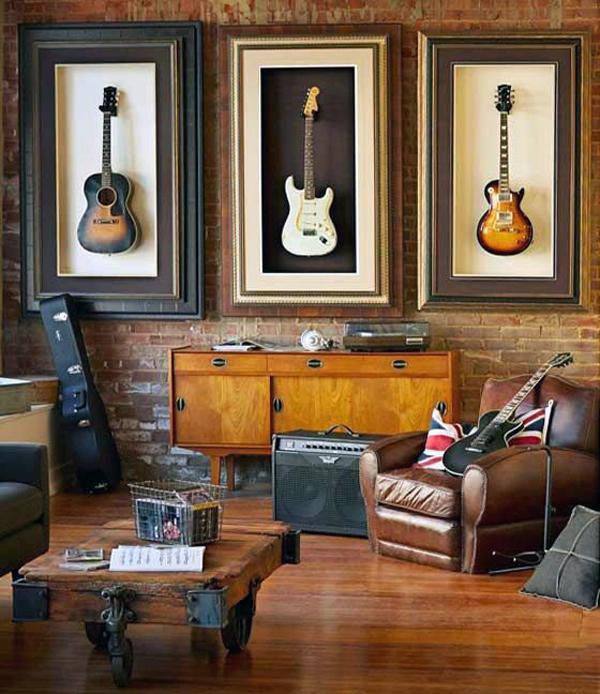 salon rock decoration murale guitare